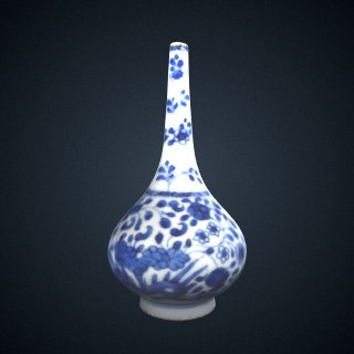 3d model of Bottle-shaped vase, one of a pair with F1982.20