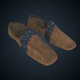 3d model of Pair of stars and stripes slippers attributed to Elizabeth Keckley