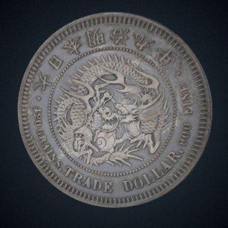 3d model of 1 Dollar, Japan, 1876