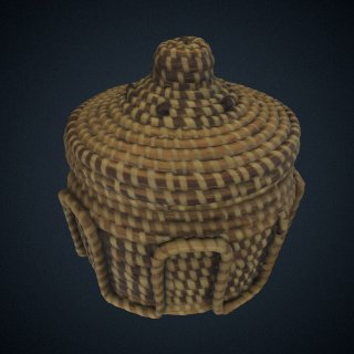 3d model of Coiled sweetgrass basket sewn by Sue Middleton