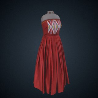 3d model of Bodice for Red Native American Prom Dress