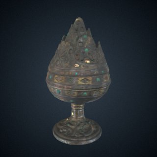 3d model of Lidded incense burner (<em>xianglu</em>) with geometric decoration and narrative scenes