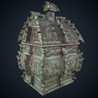 3d model of Square lidded ritual wine container (<em>fangyi</em>) with taotie, serpents, and birds