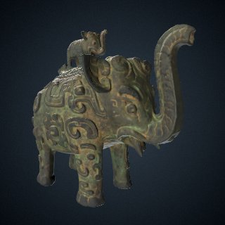 3d model of Lidded ritual ewer (<em>huo</em>) in the form of an elephant with masks and dragons