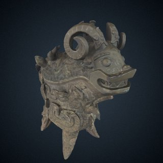 3d model of Lidded ritual ewer (<em>guang</em>) with taotie, dragons, birds, tigers, elephants, fish, snakes, and humans